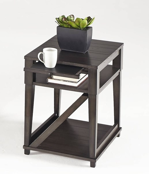 Consort Transitional Midnight Oak Solidwood MDF Chairside Table PRG-T425-29