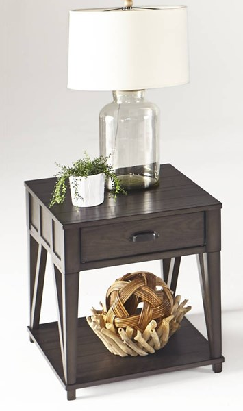 Consort Transitional Midnight Oak Solidwood MDF Rectangular End Table PRG-T425-04