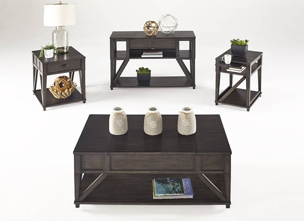 Consort Transitional Midnight Oak Solidwood MDF 3pc Coffee Table Set PRG-T425-OCT-S