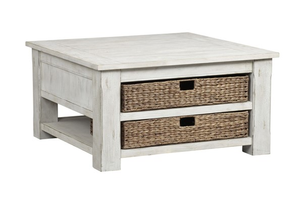 Progressive Furniture Baytown Wharf White Square Cocktail Table PRG-T476-02