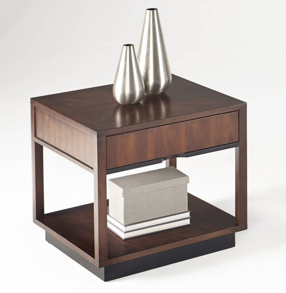 Sophisticate Contemporary Brown Solidwood Square Lamp Table PRG-T514-02