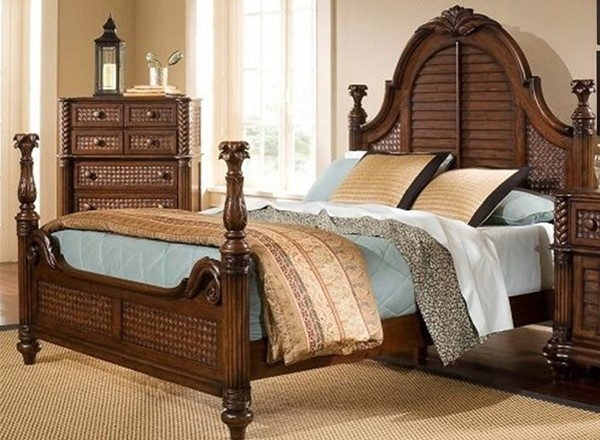 Palm Court II Tropical Coco Brown Wood Low Poster Beds PRG-P142-BEDS