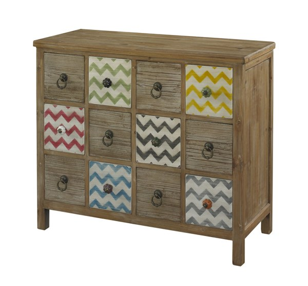 Squiggly Dee Collection Drftwood MDF 12 Drawers Console PWL-111-309