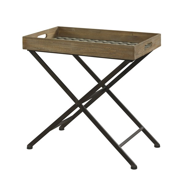 Squiggly Dee Collection Rustic Black Iron Wood Tray PWL-111-396