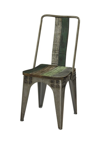 Calypso Collection Rustic Fir Wood Iron Side Chair PWL-114-285S