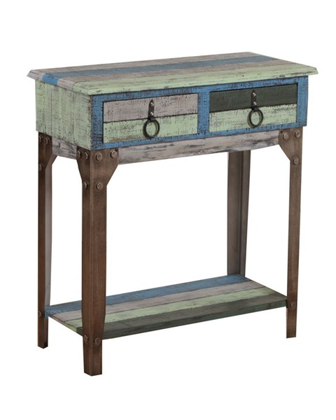 Calypso Collection Rustic Fir Wood Iron Small Hall Console PWL-114-534