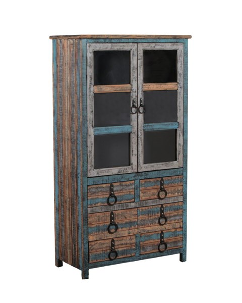 Calypso Collection Rustic Colorful Wood High Cabinet PWL-114-861