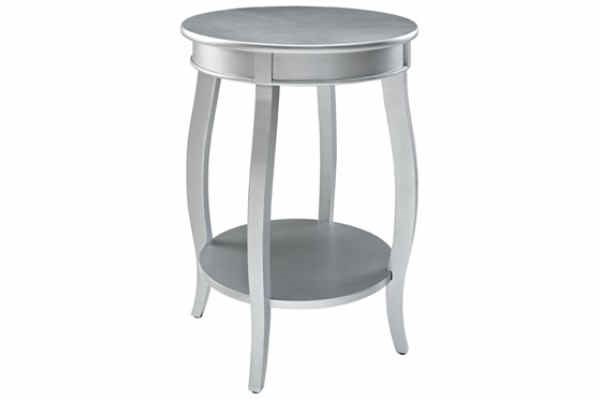 Contemporary Silver MDF Solid Wood Shelf Round Table PWL-145-350