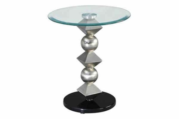 Contemporary Silver Satin Glass Metal Round Table Top PWL-146-351