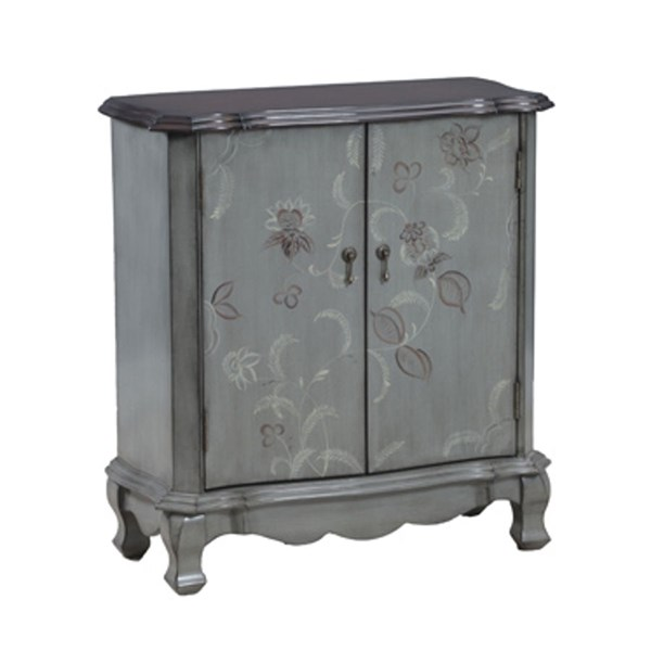 Distressed Bluish Grey Wood Floral Console w/2 Doors PWL-14A1362C