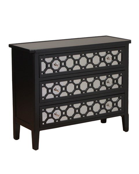 MDF Black Rectangle 3 Drawers Console w/Round Knobs PWL-14A2003