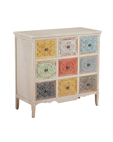 Molly Collection Distressed White and Colored Fir MDF Chest PWL-14A2015C