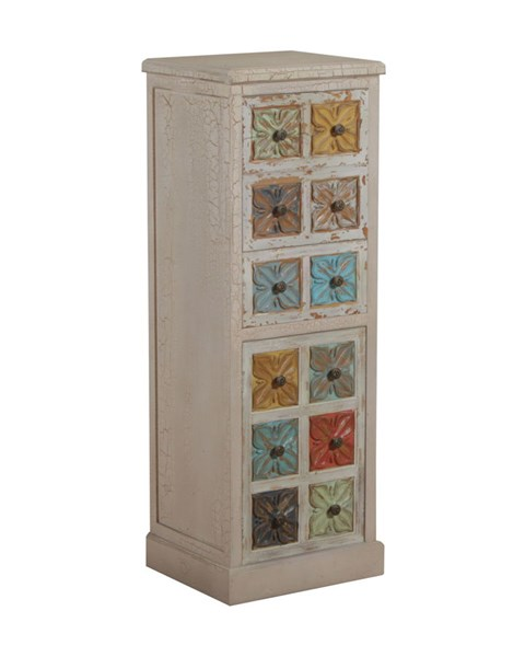 Molly Collection Distressed White and Colored Fir MDF Tall Cabinet PWL-14A2015TC