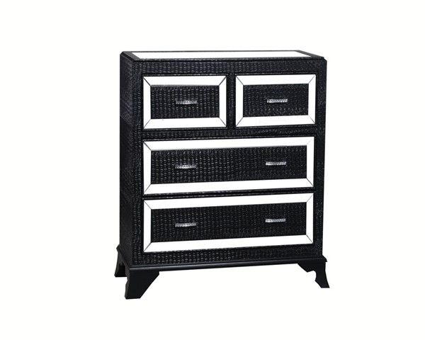 Glamour Modern Black Silver MDF Mirror Four Drawers Chests PWL-14A2019-VAR