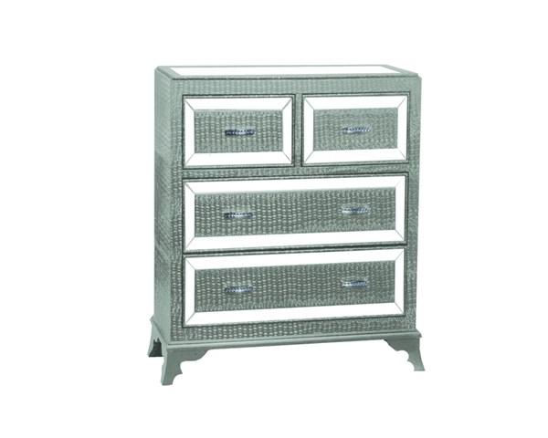Glamour Modern Silver MDF Mirror Four Drawers Chest PWL-14A2019COS