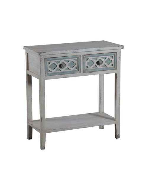Aubrey Classic Distressed White MDF 2 Drawers Console PWL-14A2021CO