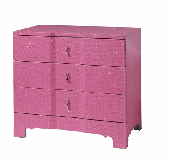 Accents Pink MDF 3 Drawer Sparkles Cabinet PWL-14A2047P