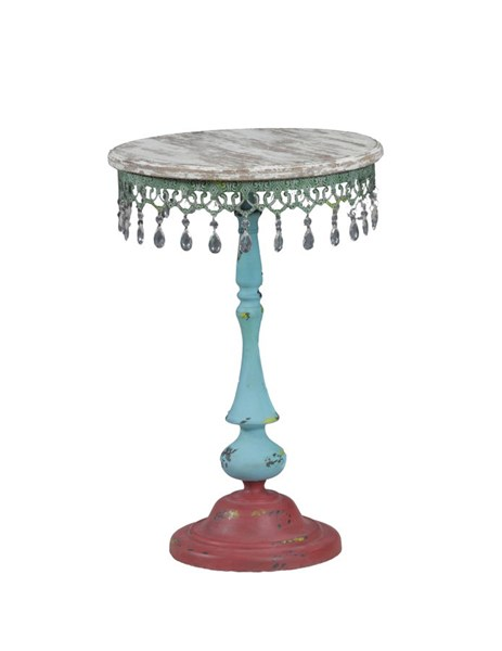 Red Wood Metal Gypsy Round Pedestal Side Table PWL-14A2058T