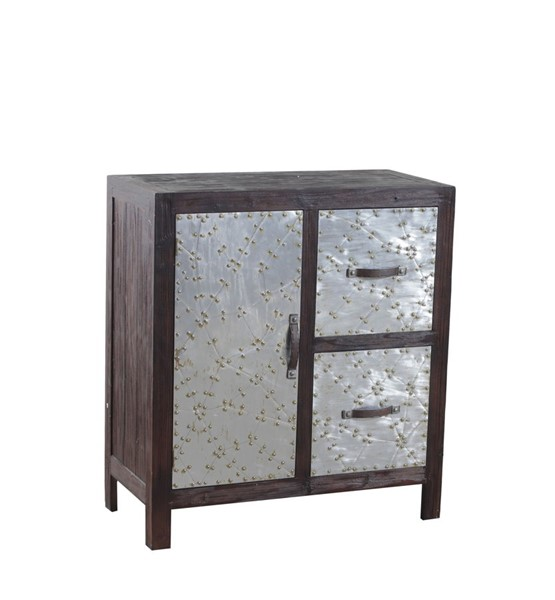 Braddock Rustic Iron Firwood MDF Two Drawers and One Door Cabinet PWL-14A2063C