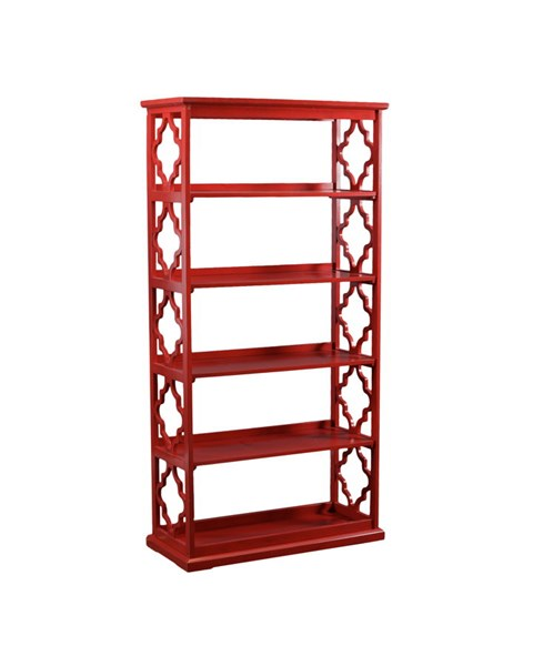 Turner Modern Red Rubberwood Bookcase PWL-14A8082BCR