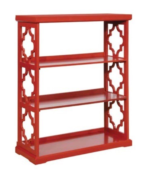 Powell Furniture Red Rubberwood Turner Medium Bookcase PWL-14A8082BCR4