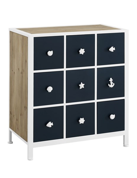 Rustic Navy White Fir Wood Iron MDF Beaufort Cabinet PWL-14A8098CH
