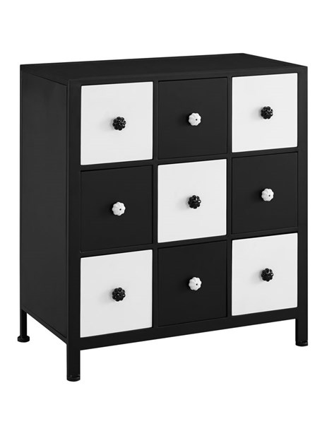 Black White Fir Wood Iron MDF Checkers Cabinet PWL-14A8099CH