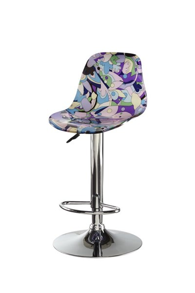Contemporary Ivory Pink Blue Abstract Acrylic Chrome Bar Stool PWL-14B2014