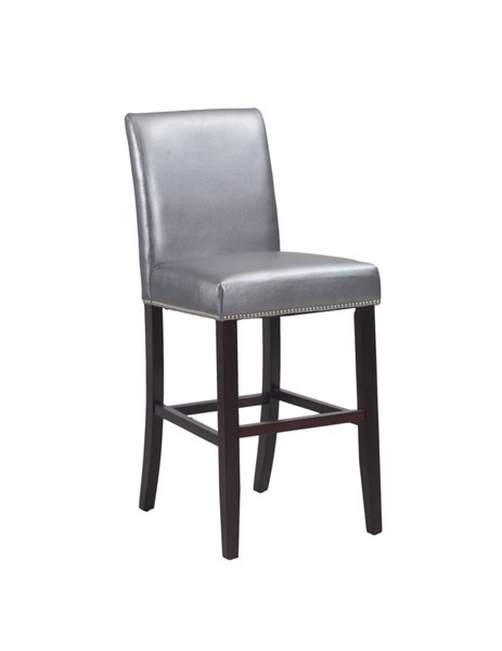 Pewter Bonded Leather Wood Armless & Solid Back Barstool PWL-14D2032P