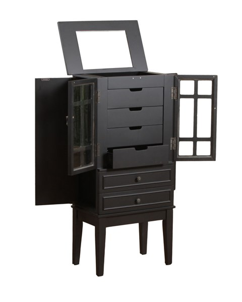 Black Wood 6 Drawers Glass Door Jewelry Armoire PWL-14J8038BL