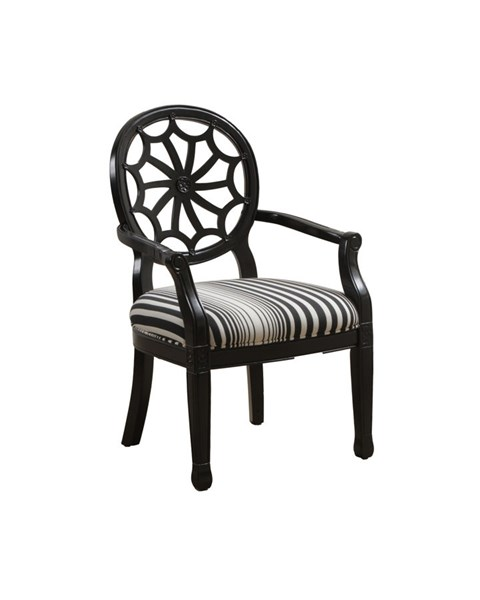 Classic Seating Black White Striped Wood Spider Back Accent Chair PWL-14S8027