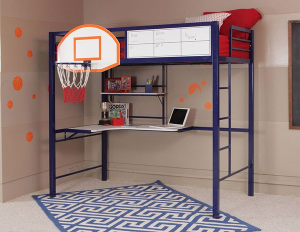 Youth Transitional Blue Metal MDF PVC Hoops Basketball Bunk Bed PWL-14Y2002BB