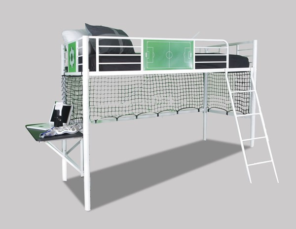 Transitional White Metal Goal Keeper Loft Bed PWL-14Y2015LB