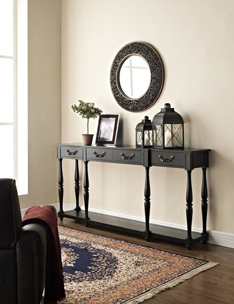 Classic Black Solid Wood MDF Birch Veneer Crackle Console PWL-158-534