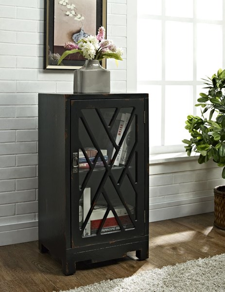 Accent Black MDF Glass Chippendale Side Table PWL-158-892
