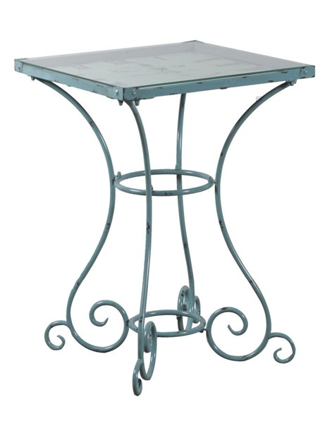 Powell Furniture Distressed Blue Square Clock Table PWL-15A2001