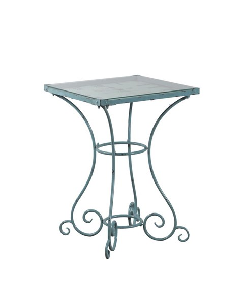 Distressed Blue Metal Iron White Square Clock Table PWL-15A2001