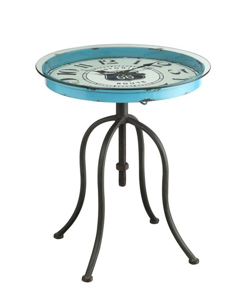 Black Metal Iron Blue Round Clock Accent Table PWL-15A2002