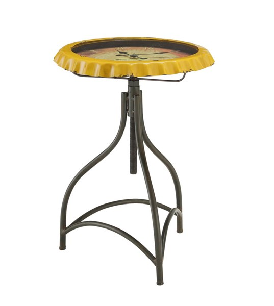 Black Metal Iron Yellow Round Clock Accent Table PWL-15A2003