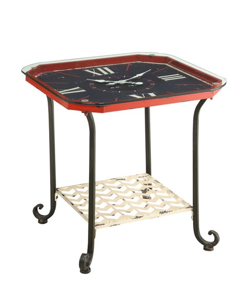 Black Metal Iron Octagon Clock Accent Table PWL-15A2005