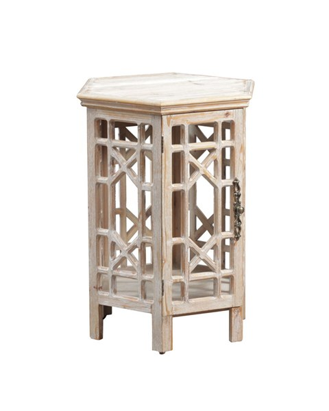 Lakeland Driftwood Firwood MDF Hexagon Shape Accent Table PWL-15A2006D