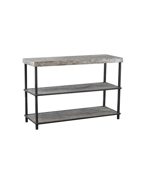 Roscoe Contemporary Silver Foil Firwood Metal Shelf Sofa Table PWL-15A2010SH