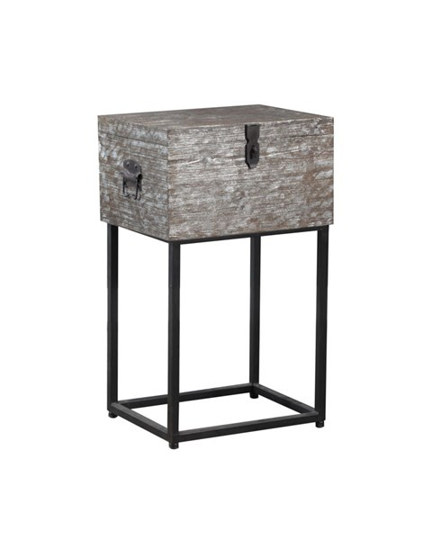 Roscoe Contemporary Silver Foil Firwood Metal Side Table PWL-15A2010ST