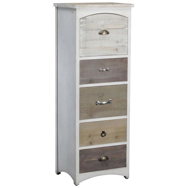 White Driftwood MDF 5 Drawer Brighton Tall Chest PWL-15A8136SH