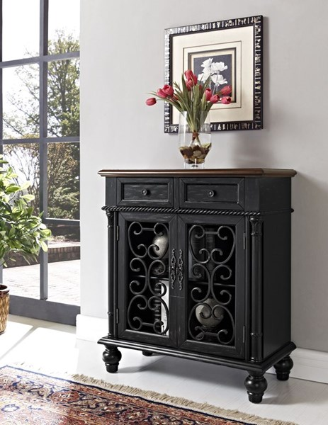 Classic Molasses MDF Shabby Black Console PWL-161-933