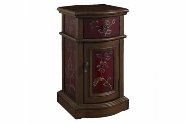 Red MDF Solid Wood Chairside Storage Cabinet PWL-163-222