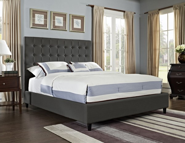 Gray MDF Fabric Polyester Charcoal Soft Roll King Bed PWL-166-074M1