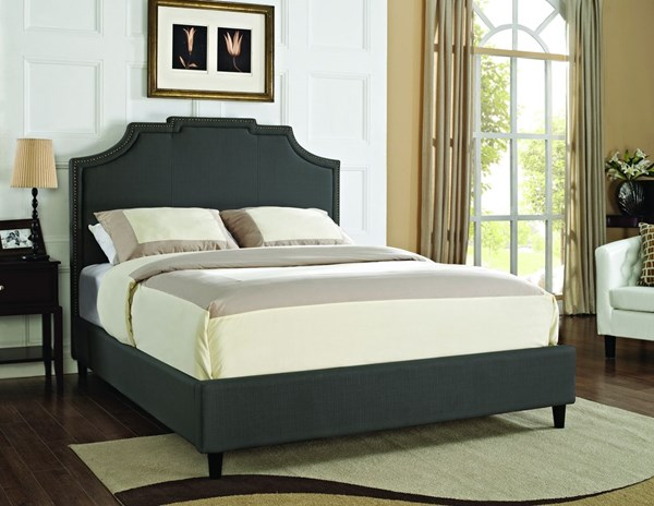 Gray MDF Fabric Polyester Crown Button Tufted Beds PWL-167-TUFT-BED-VAR