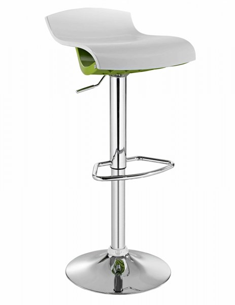 Contemporary White Lime Metal ABS Quilted Stool PWL-171-BST-VAR