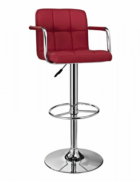 Contemporary Chrome Red ABS Metal Quilted Adjustable Height Bar Stool PWL-171-486